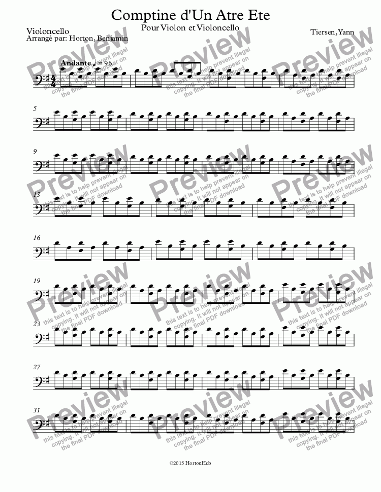 page one of the Violoncello part from Comptine d'Un Atre Ete