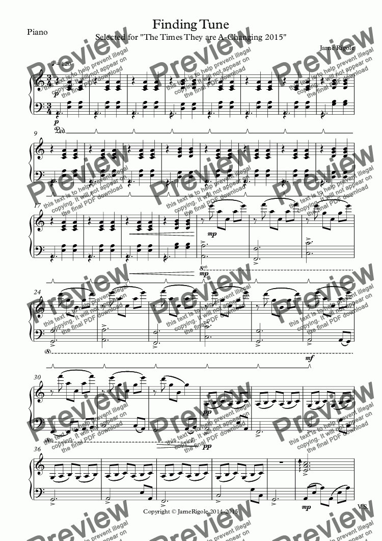 page one of the Piano part from Finding Tune