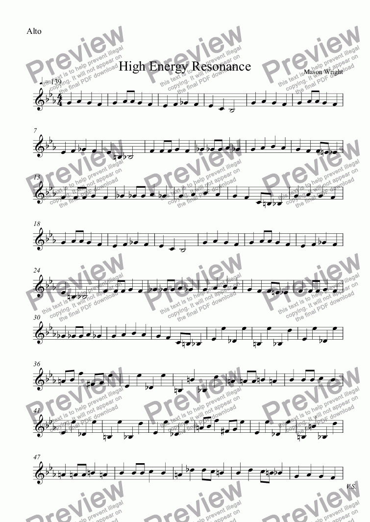 page one of the Alto part from High Energy Resonance