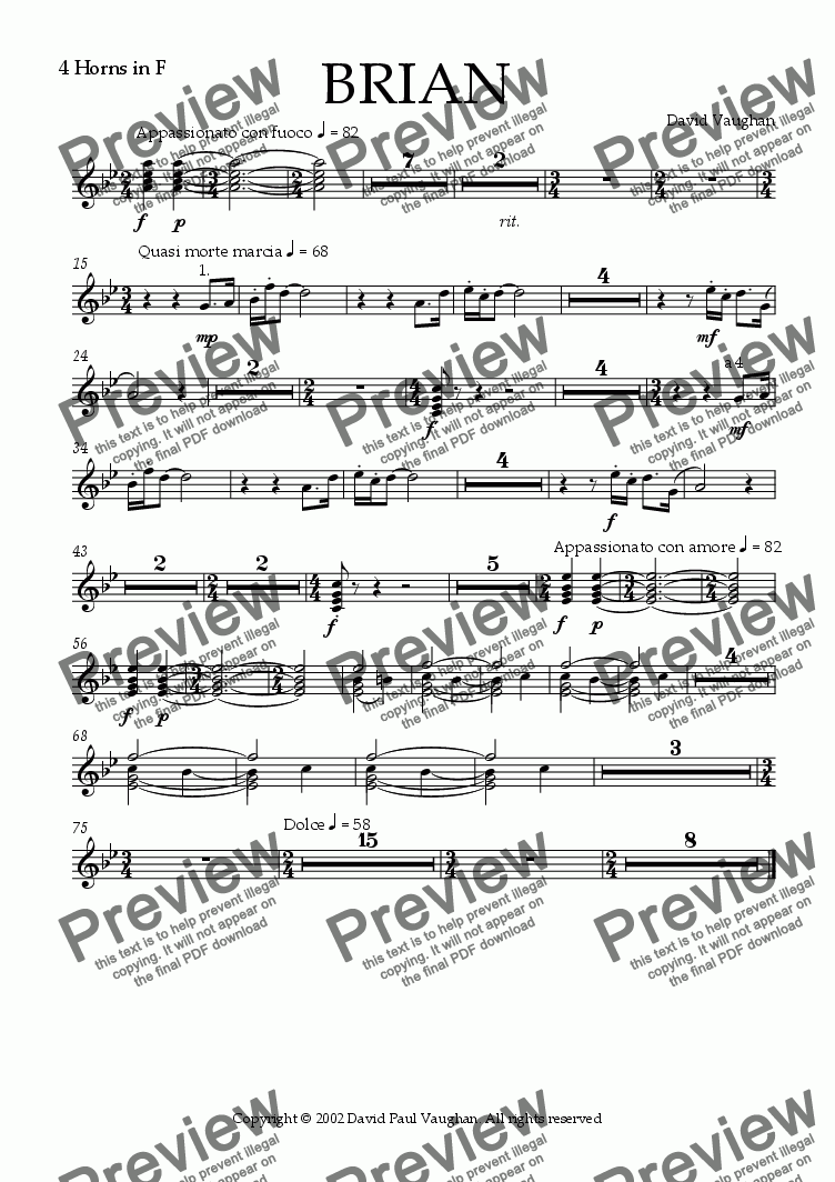 page one of the French Horns part from Brian
