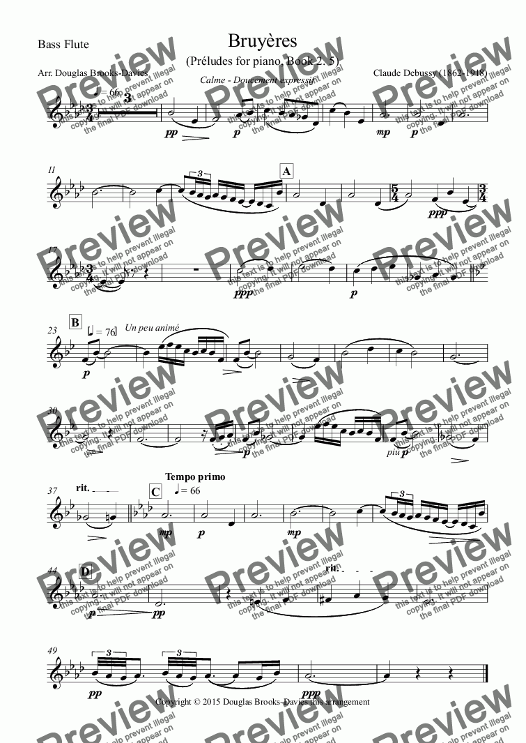 page one of the Bass Flute part from DEBUSSY, Claude: Bruyères (Preludes pour piano, 2. 5) for Flute Choir (3fl, afl, bfl)