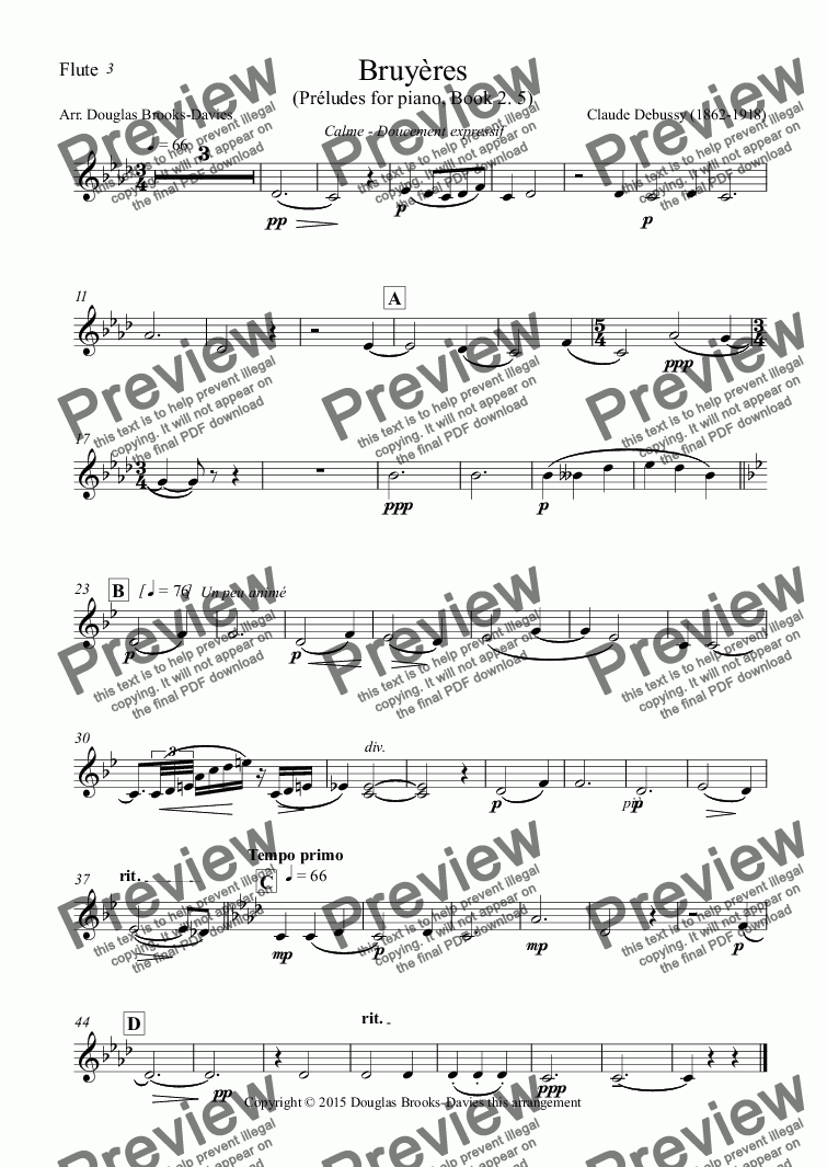 page one of the Flute part from DEBUSSY, Claude: Bruyères (Preludes pour piano, 2. 5) for Flute Choir (3fl, afl, bfl)