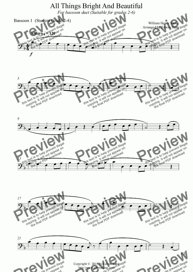 page one of the Bassoon 1  (Student Grade 2-4) part from All Things Bright And Beautiful (for bassoon duet, suitable for grades 2-6) (152BNDU02)