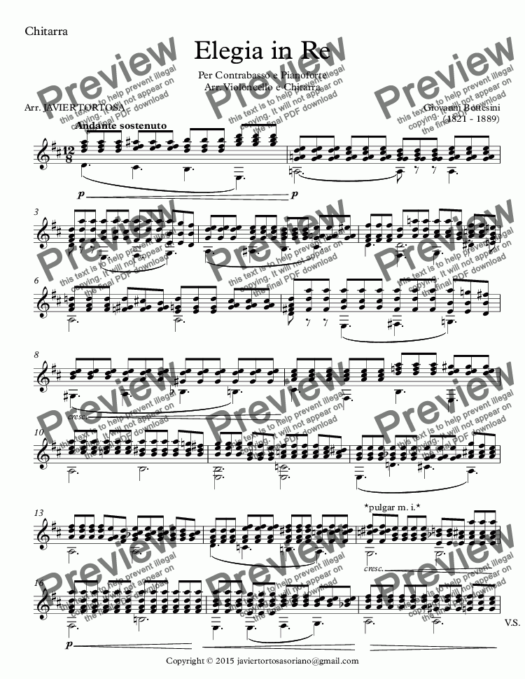 page one of the Chitarra part from Elegia in Re