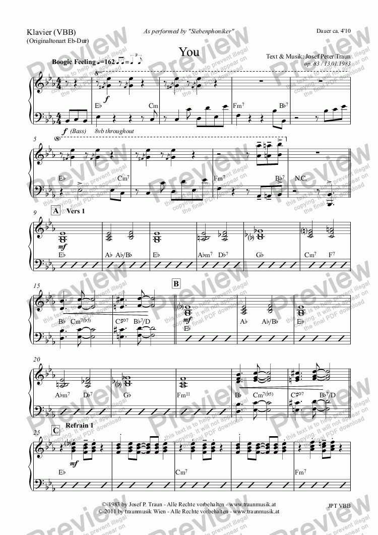 page one of the Klavier (VBB) part from You (Score & Parts)