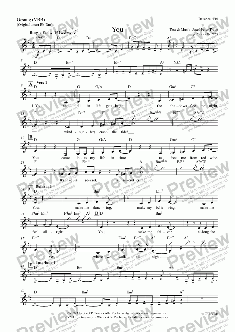 page one of the Gesang (VBB) part from You (Score & Parts)
