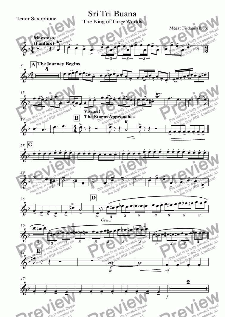 page one of the Tenor Saxophone part from Sri Tri Buana