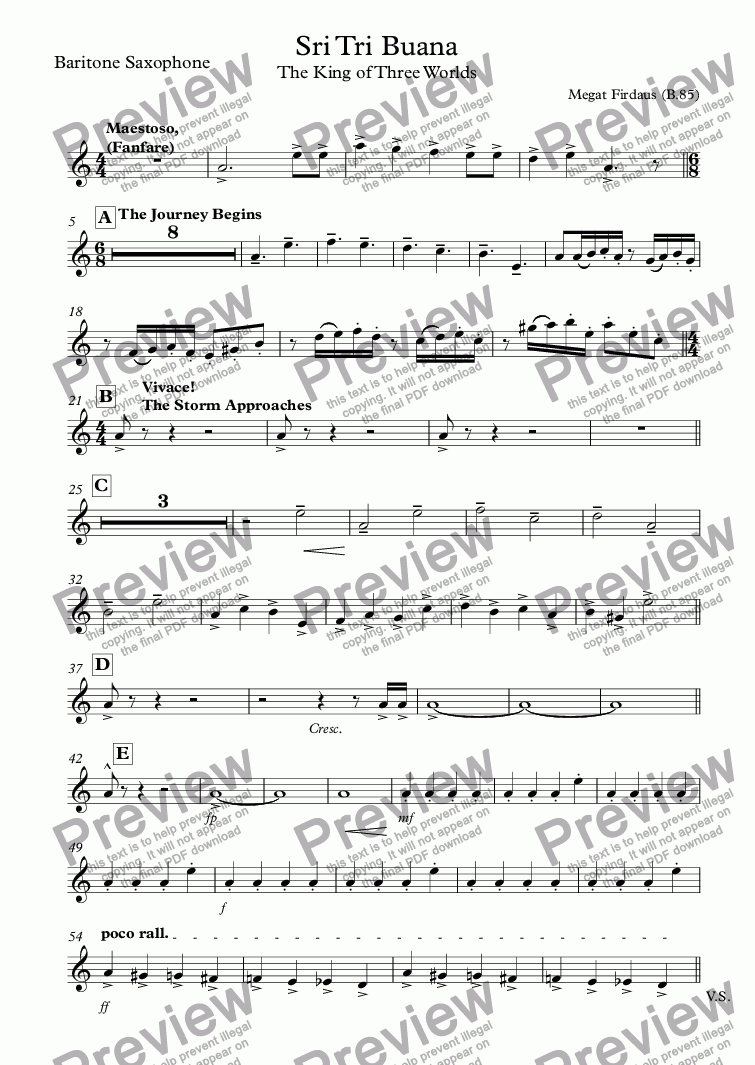 page one of the Baritone Saxophone part from Sri Tri Buana