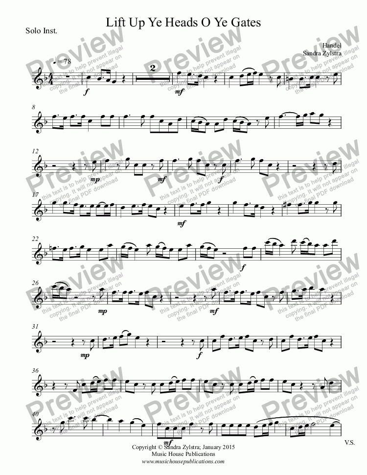 page one of the Solo Instrument part from Lift Up Ye Heads O Ye Gates (solo instrument, piano)