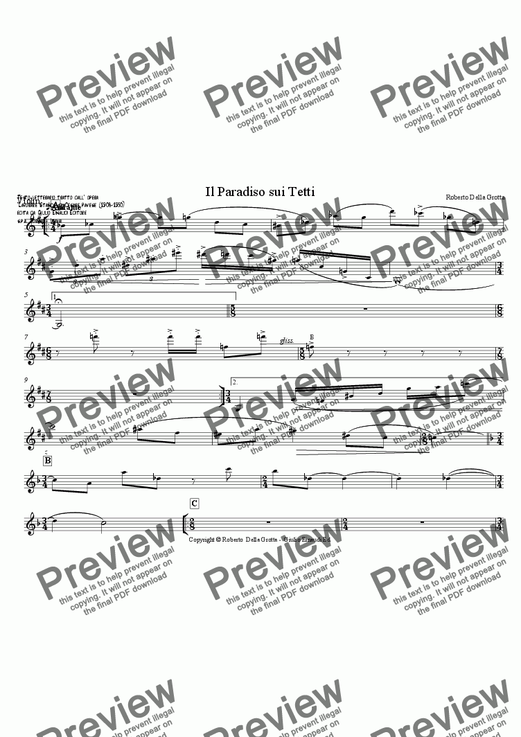 page one of the Violin part from Il Paradiso sui Tetti (lirica di Cesare Pavese)