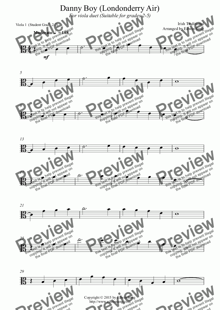 page one of the Viola 1  (Student Grade 2-3) part from Danny Boy (Londonderry Air) (for viola duet, suitable for grades 2-5) (152VADU01)