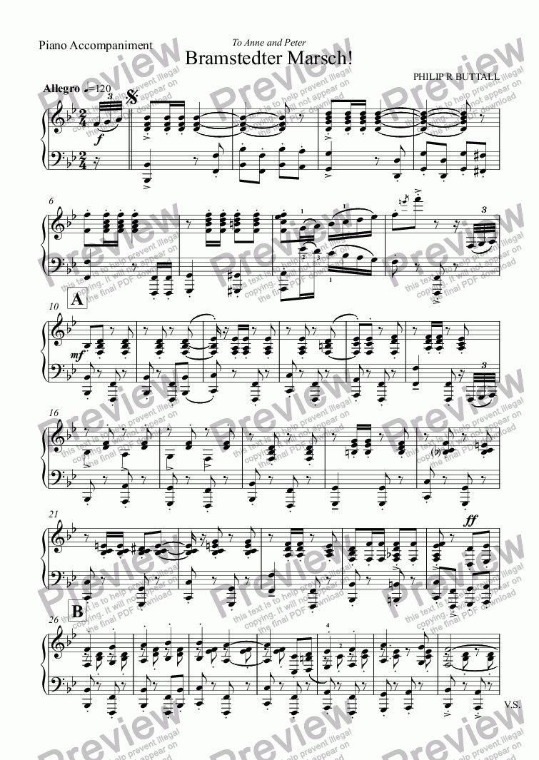 page one of the Piano part from Bramstedter Marsch! (Flute & Clarinet)