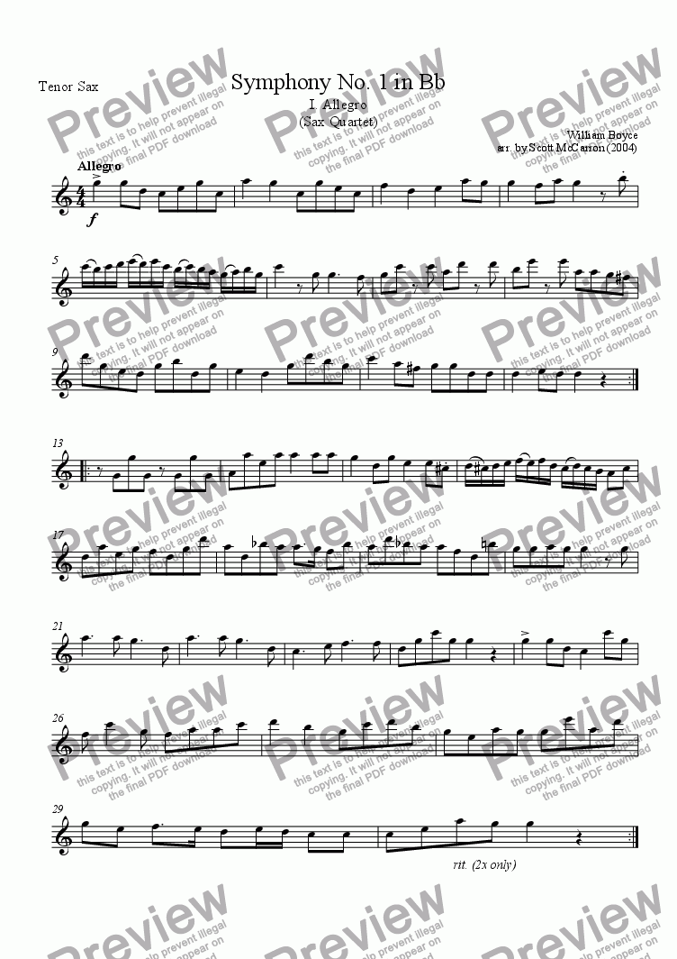page one of the Tenor Saxophone part from Symphony No. 1 In Bb - I. Allegro