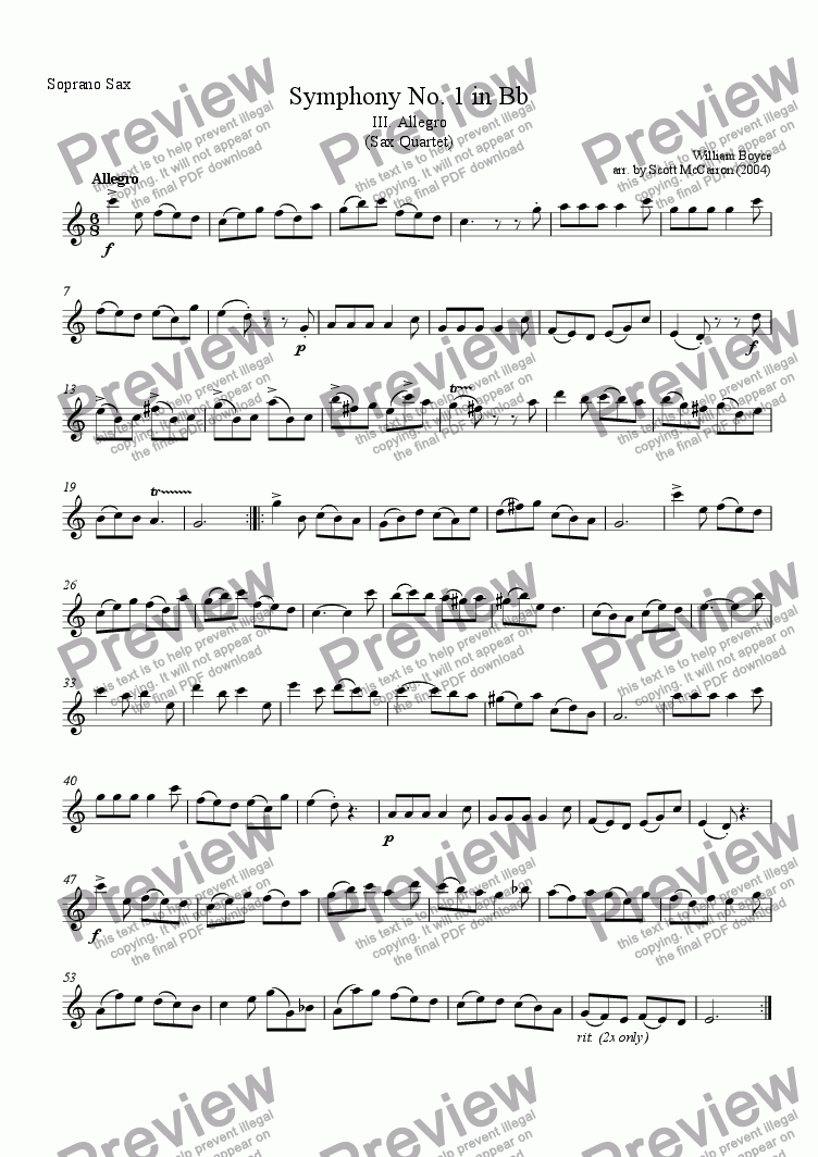 page one of the Soprano Saxophone part from Symphony No. 1 in Bb - III. Allegro