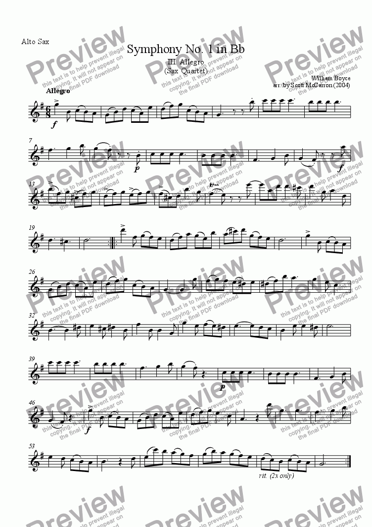 page one of the Alto Saxophone part from Symphony No. 1 in Bb - III. Allegro