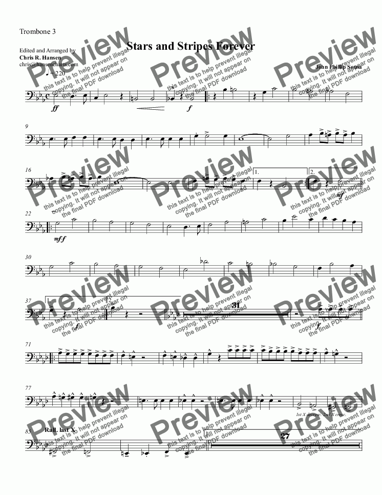 page one of the Trombone 3 part from Stars and Stripes Forever