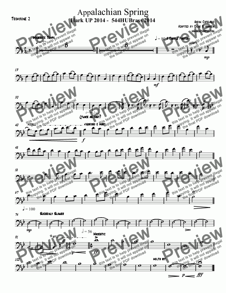 page one of the Trombone 2 part from Appalachian Spring Hark UP 2014 -  544HUBrass 2014