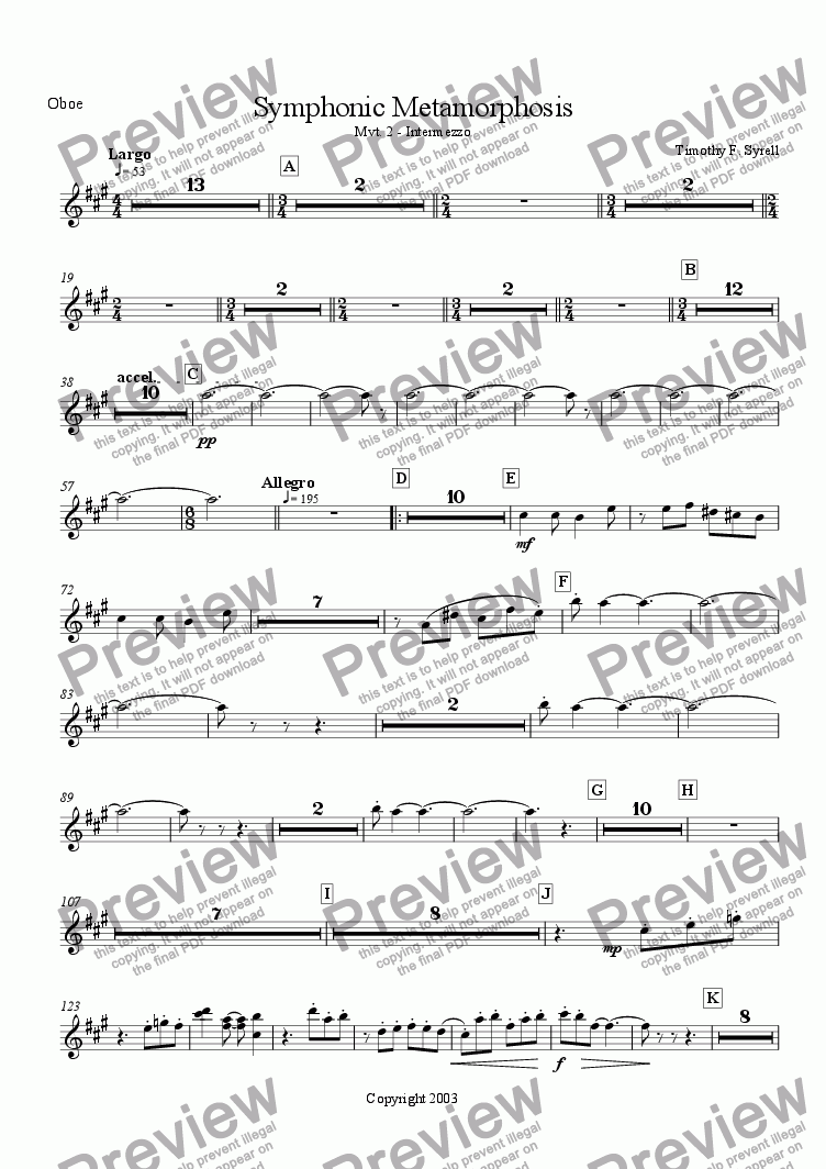 page one of the Oboe part from Symphonic Metamorphosis - Mvt. 2 - Intermezzo