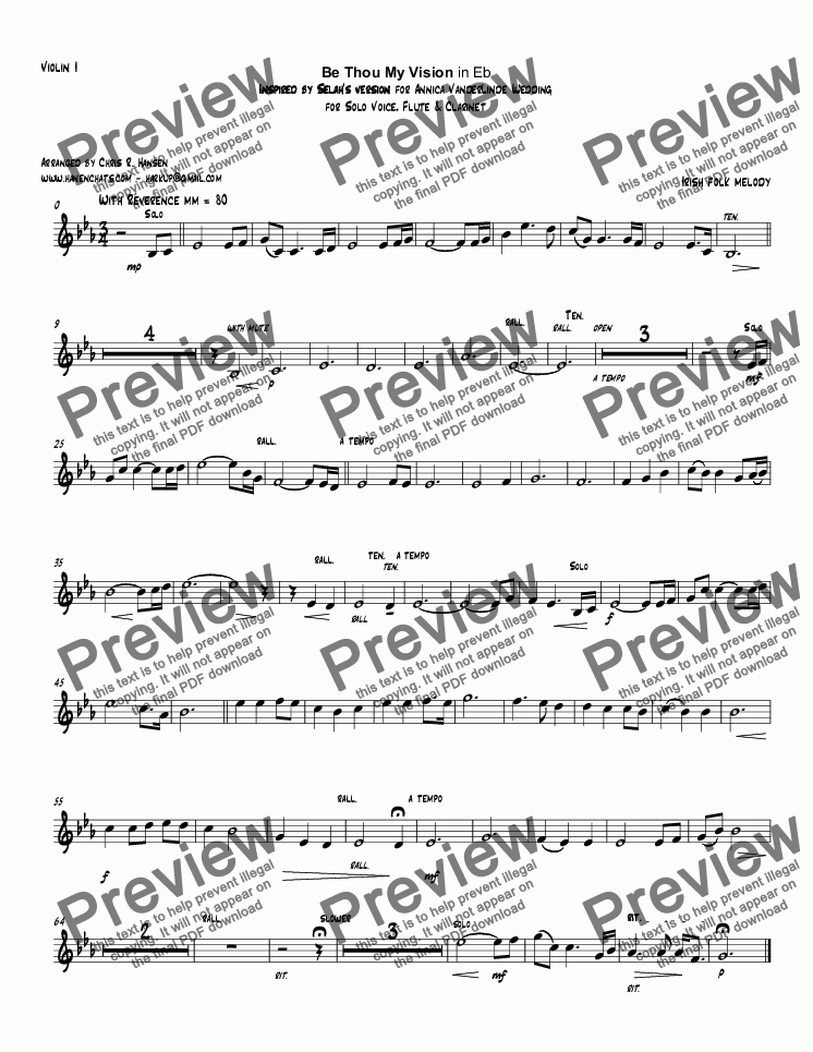 page one of the Violin I part from Be Thou My Vision in Eb Inspired by Selah's version for Annica VanderLinde Wedding for Solo Voice, Flute & Clarinet