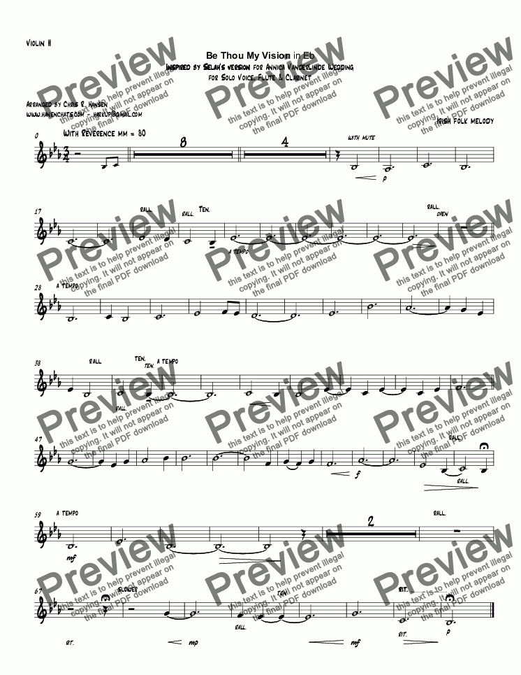 page one of the Violin II part from Be Thou My Vision in Eb Inspired by Selah's version for Annica VanderLinde Wedding for Solo Voice, Flute & Clarinet