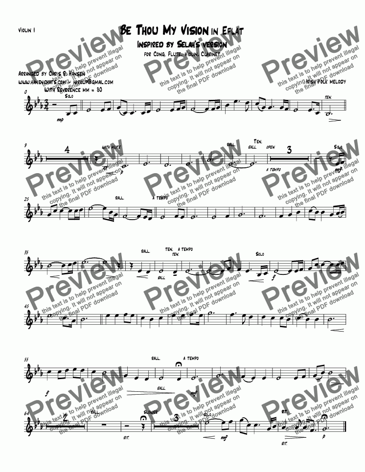page one of the Violin I part from Be Thou My Vision in E flat Inspired by Selah's version for Cong. Flute, Violin, Clarinet