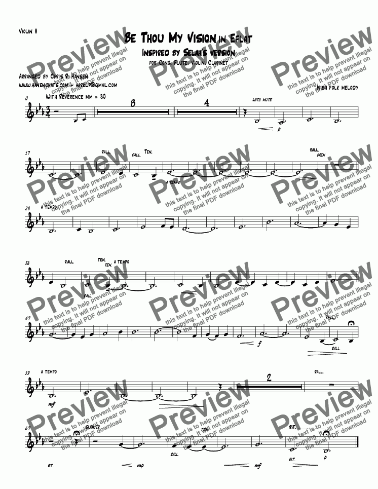 page one of the Violin II part from Be Thou My Vision in E flat Inspired by Selah's version for Cong. Flute, Violin, Clarinet