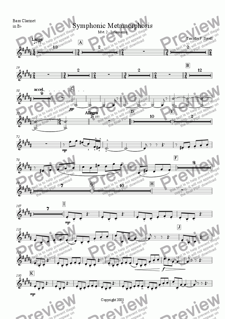page one of the Bass Clarinet in Bb part from Symphonic Metamorphosis - Mvt. 2 - Intermezzo
