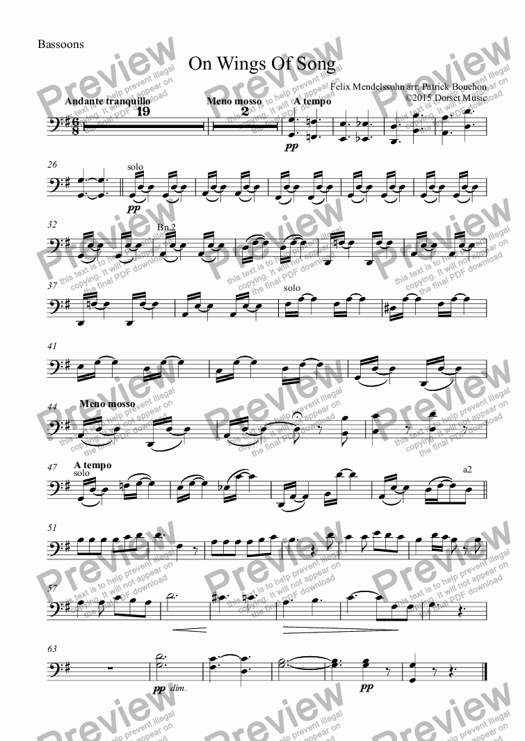 page one of the Bassoons part from On Wings Of Song - Mendelsssohn