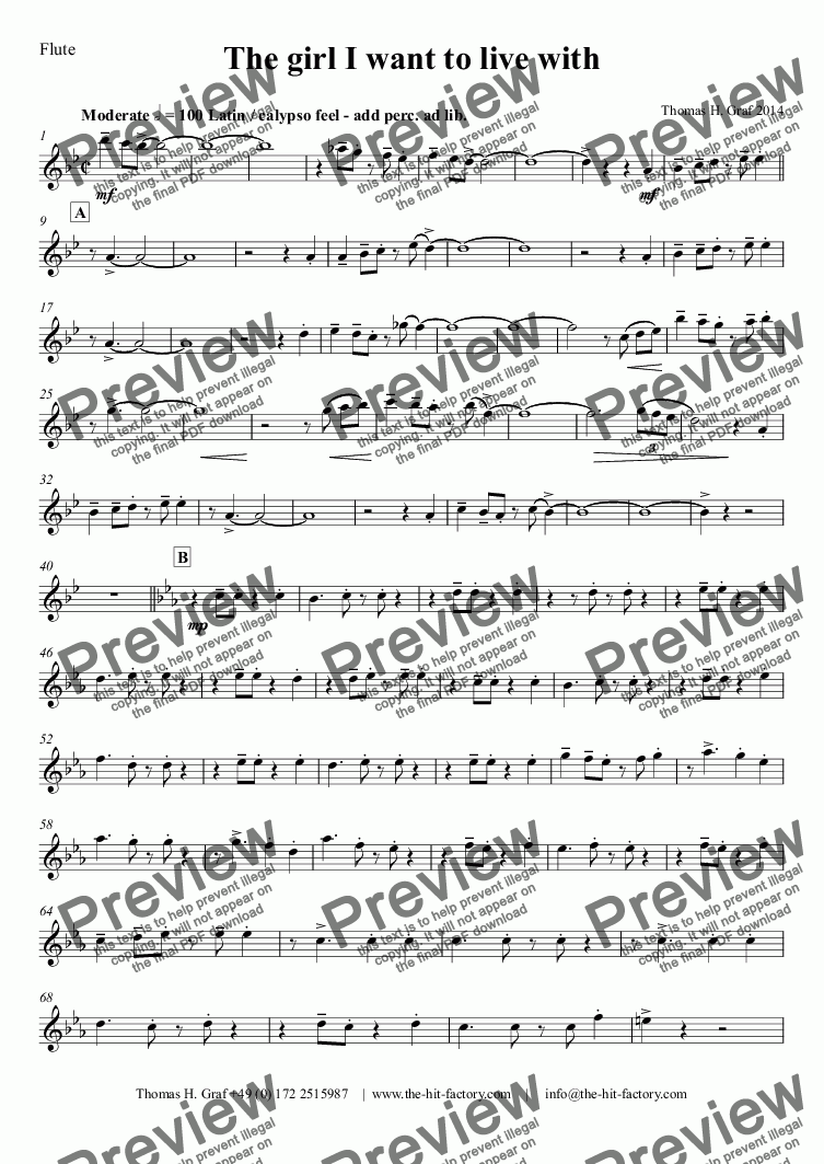 page one of the Flute part from The girl I want to live with - Latin - Wind Quintet