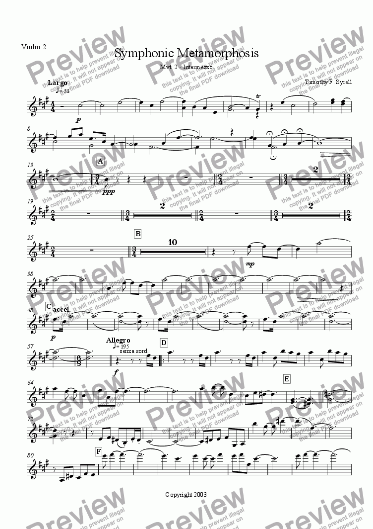 page one of the Violin 2 part from Symphonic Metamorphosis - Mvt. 2 - Intermezzo