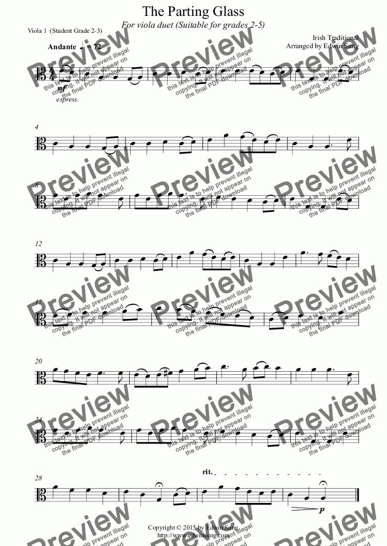 page one of the Viola 1  (Student Grade 2-3) part from The Parting Glass (for viola duet, suitable for grades 2-5) (152VADU04)
