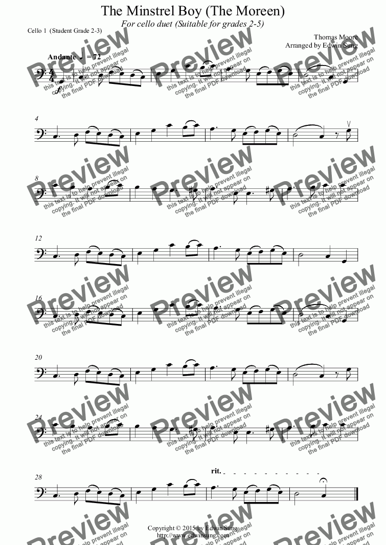page one of the Cello 1  (Student Grade 2-3) part from The Minstrel Boy (The Moreen) (for cello duet, suitable for grades 2-5) (152CODU03)