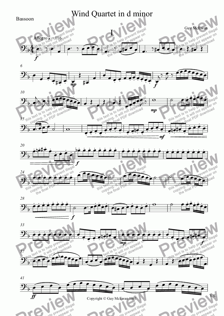 page one of the Bassoon part from Wind Quartet in d minor  I