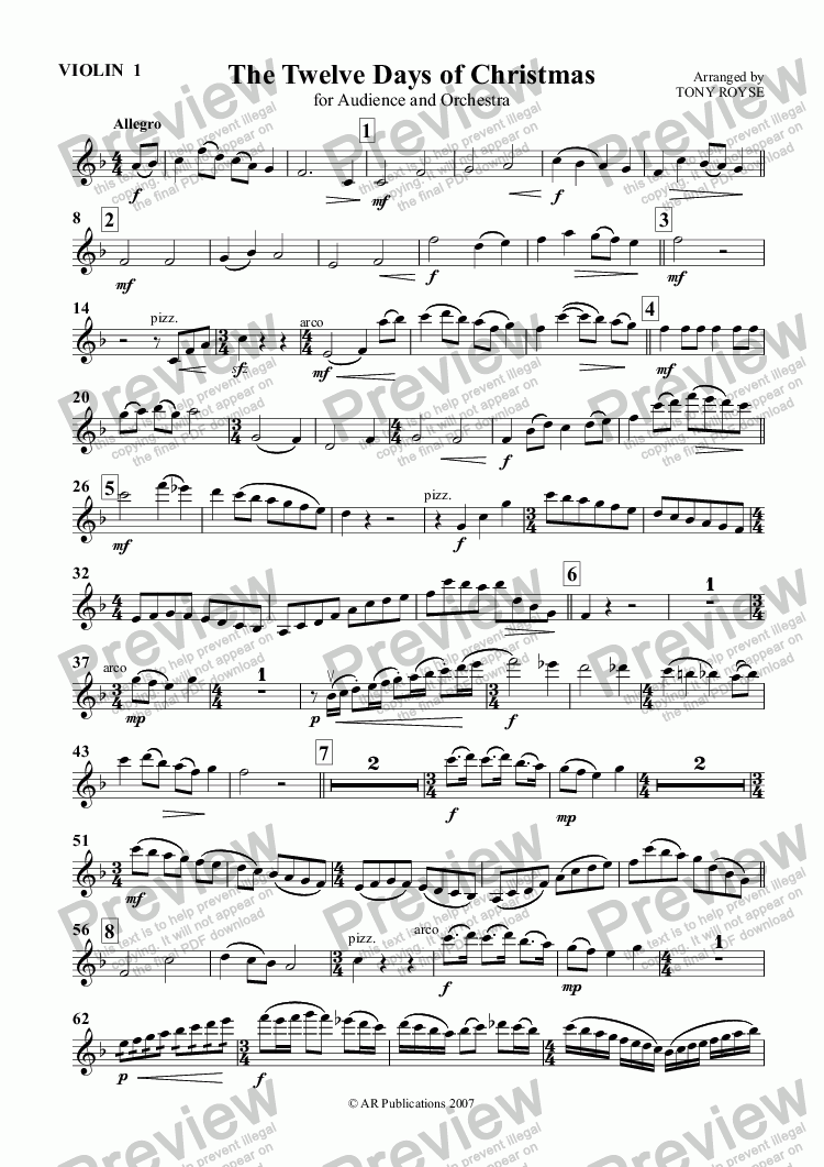 page one of the Violin 1 part from 12 Days of Christmas