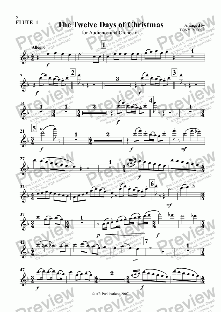page one of the Flute 1 part from 12 Days of Christmas