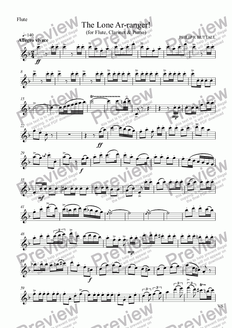 page one of the Flute part from The Lone Ar-ranger! (Flute, Clarinet & Piano)