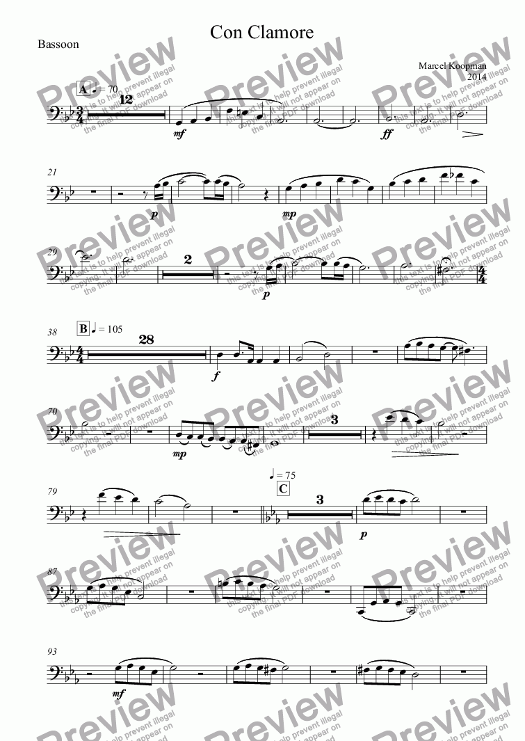 page one of the Bassoon part from Con Clamore