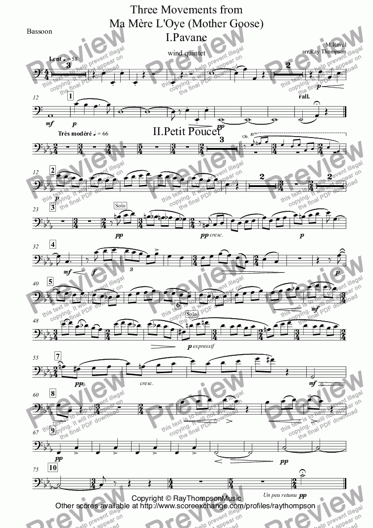 page one of the Bassoon part from Ravel: Three Movements from Ma Mère L'Oye (Mother Goose) I.Pavane II. Petite Poucet (Tom Thumb) V. Le jardin féerique (The Fairy Garden) arr.wind quintet