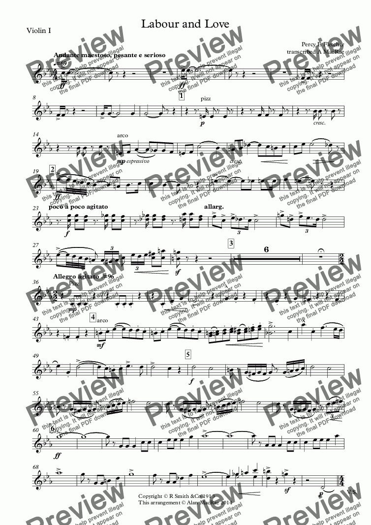 page one of the Violin I part from Labour and Love