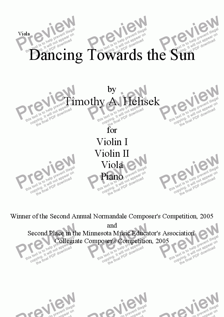 page one of the Viola part from Dancing Towards the Sun