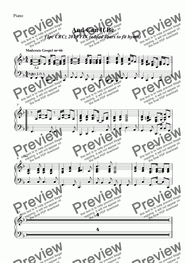 page one of the Piano part from And Can It Be - HYMN