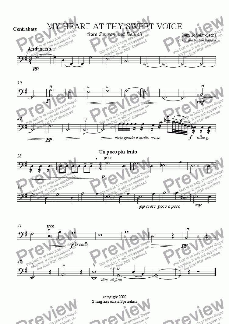page one of the Contrabass part from My Heart at thy Sweet Voice