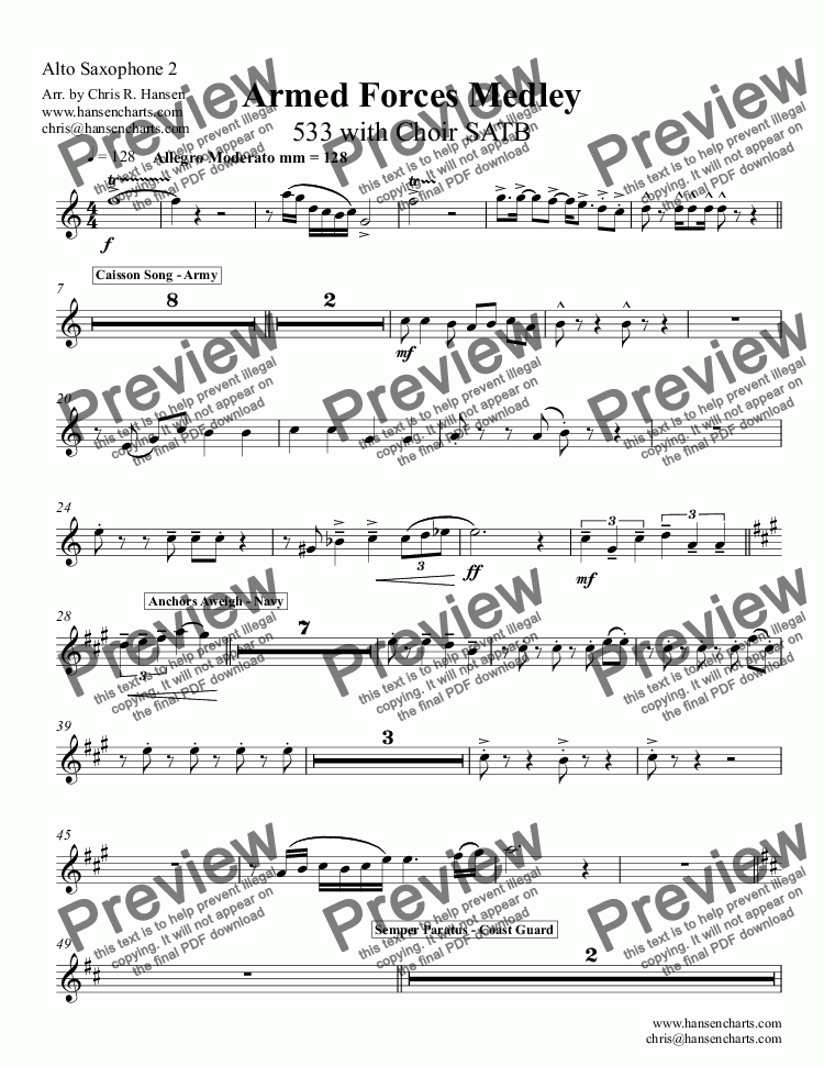 page one of the Alto Saxophone 2 part from Armed Forces Medley 533 with Choir SATB