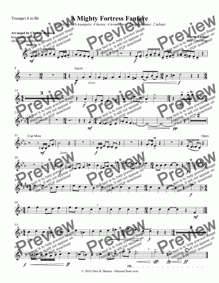 page one of the Trumpet 4 in B^b part from A Mighty Fortress Fanfare Brass Choir (6 trumpets; 4 horns; 4 trombones; 2 euphoniums; 2 tubas)