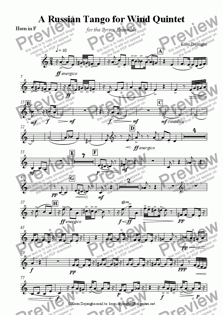 "page one of the Horn in F part from ""A Russian Tango For Wind Quintet"" (with Bass Clarinet)"