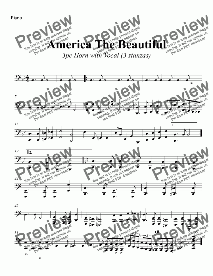 page one of the Piano part from America The Beautiful  3pc Horn with Vocal (3 stanzas)