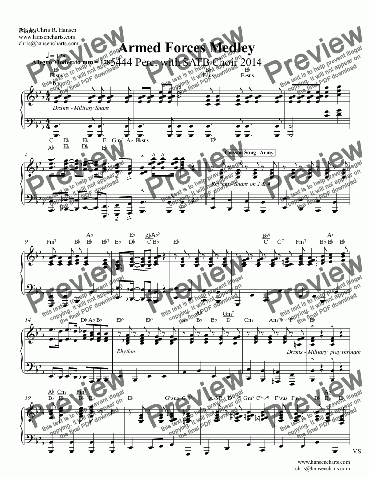 page one of the Piano part from Armed Forces Medley 5444 Perc. with SATB Choir 2014