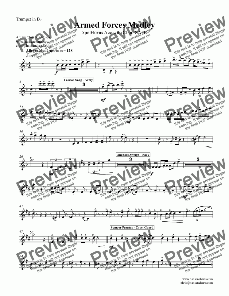 page one of the Trumpet in B^b part from Armed Forces Medley 5pc Horns Acc with Choir SATB