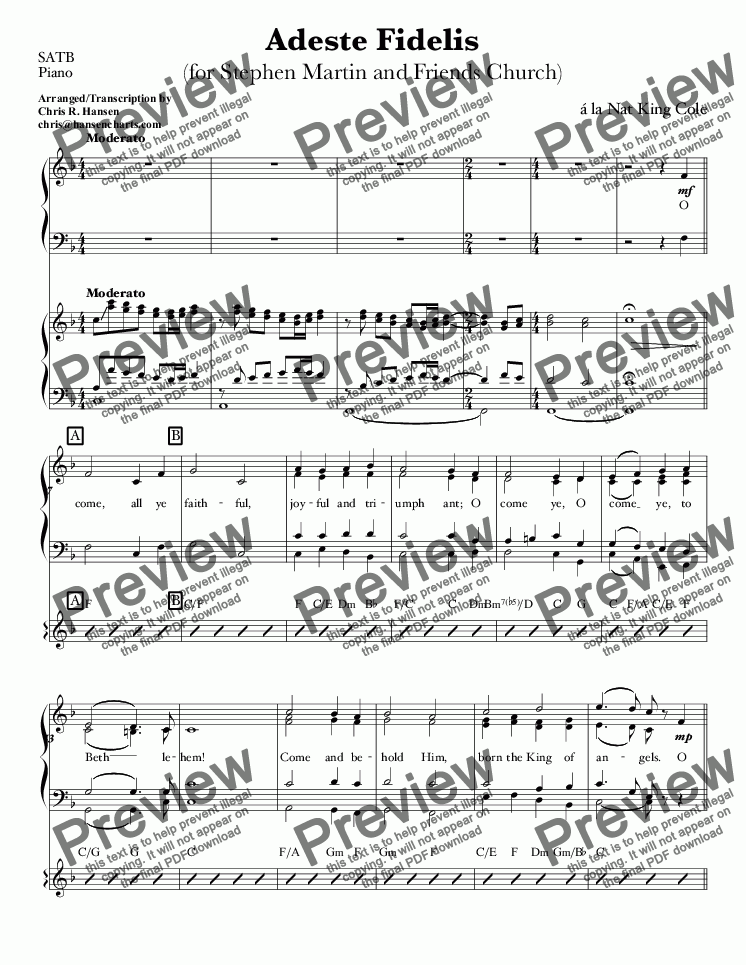 page one of the SATB, Piano part from Adeste Fidelis for Small Orchestra & Choir