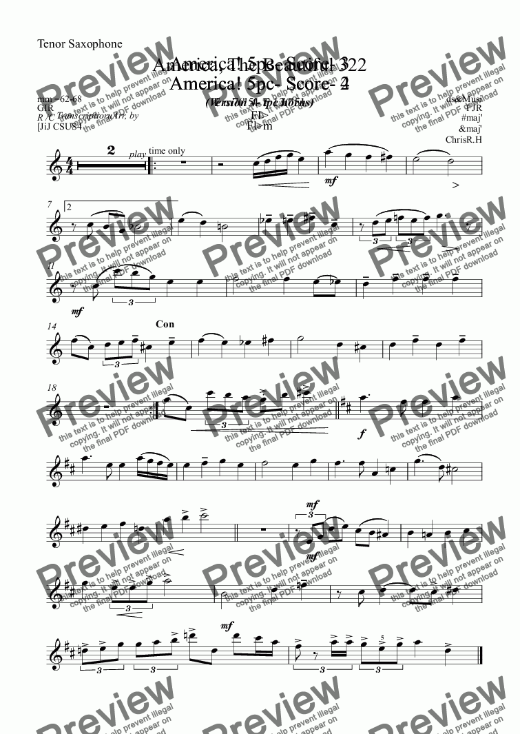 page one of the Tenor Saxophone part from America, The Beautiful 322
